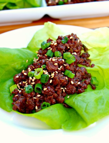 Korean Beef Lettuce Wraps - Sweet and mildly spiced beef, cooked quickly and enjoyed in a sturdy leaf of lettuce, creating smiles all around the table ~ The Complete Savorist