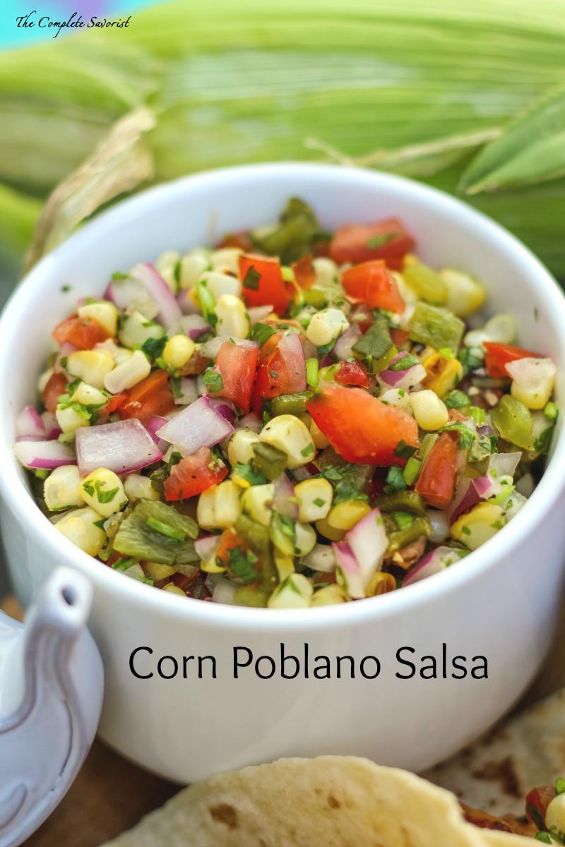 Corn Poblano Salsa is a seasonally fresh salsa.