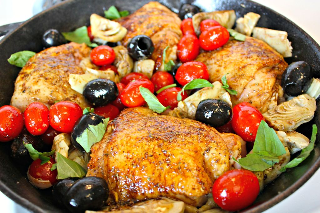 About to cook the Mediterranean Chicken ~ The Complete Savorist #CalOlivesMedRecipe