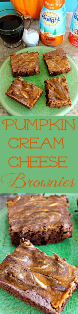 Pumpkin Cream Cheese Brownies ~ Delicious, chocolatey brownies with pumpkin pie filling and cream cheese swirled into one fantastic treat ~ The Complete Savorist #DelightfulMoments #ad