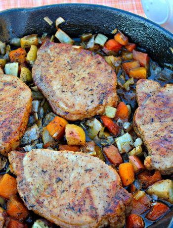 Pork Chops with Glazed Apples and Vegetables