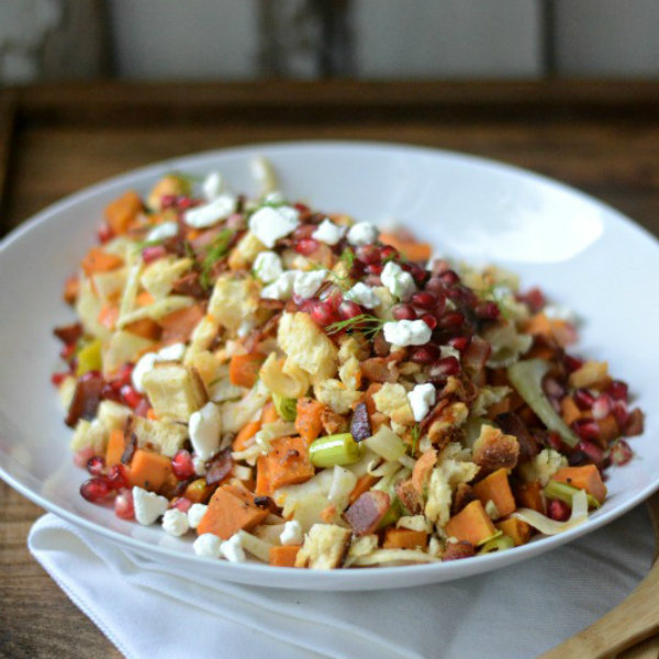 Warm Sweet Potato, Bacon, and Leek Salad with Cheddar Biscuit Breadcrumbs - Sarcastic Cooking