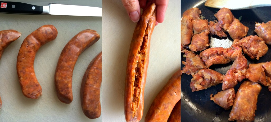 Collage image of preparing the Italian sausage for cooking by removing the casings and breaking the meat apart for cooking in a skillet.
