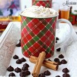 Homemade Mexican hot chocolate madeusing three simple ingredients: milk, dark chocolate, and cinnamon; then topped with cinnamon whipped cream. ~ The Complete Savorist by Michelle De La Cerda