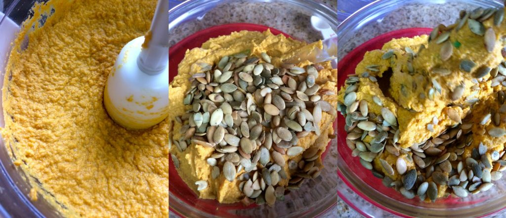 Pumpkin Hummus ~ Classic hummus of chickpeas (garbanzo beans), tahini, olive oil, and lemon juice given a fresh twist with pumpkin puree, pepitas, and warming spices ~ The Complete Savorist #SamsClubMag ad