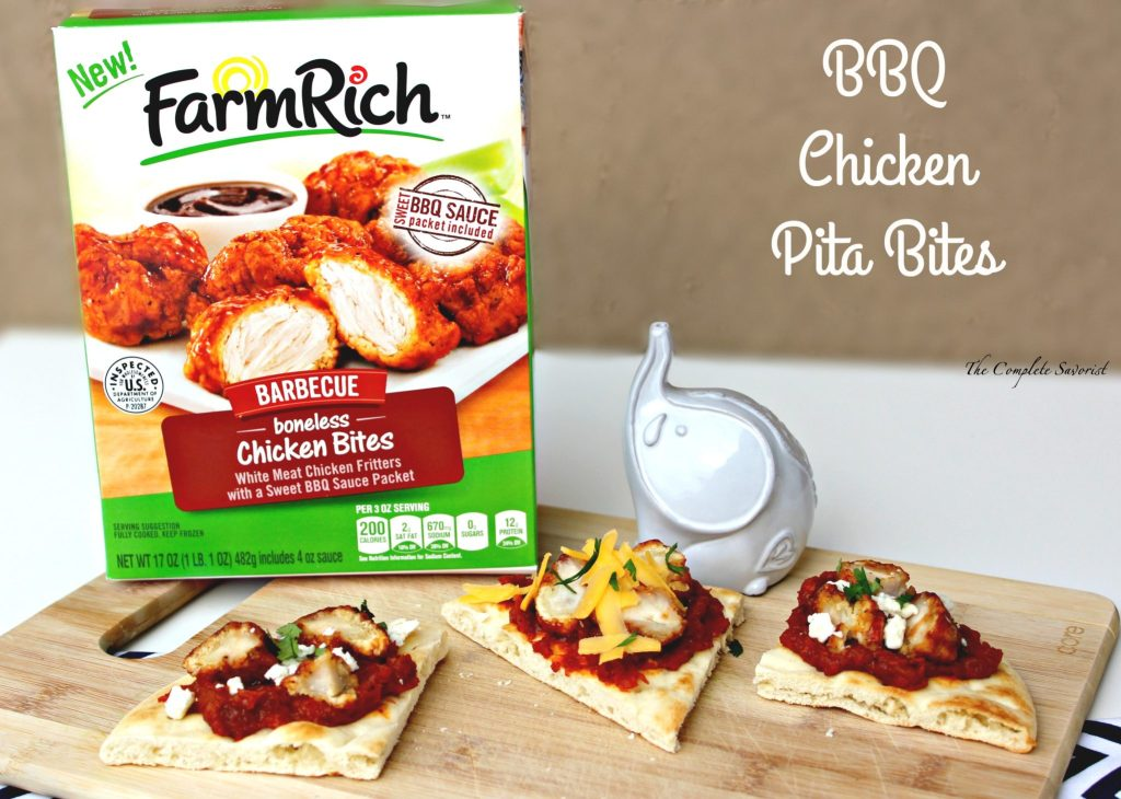 BBQ Chicken Pita Bites ~ Toasted Pita bread slathered in tomato bacon jam and chopped BBQ chicken pieces and finished with cilantro and bleu or cheddar cheese. ~ The Complete Savorist #GameDaySnackHacks ad