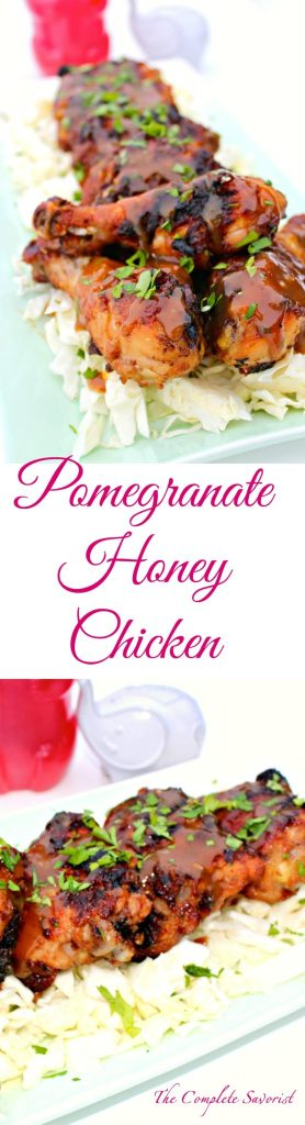 Pomegranate Honey Chicken ~ A sweet marinade from pomegranate honey is transformed into sweet, sticky, and savory glaze and gravy for chicken which has been quickly pan-fried in a skillet and finished in the oven ~ The Complete Savorist