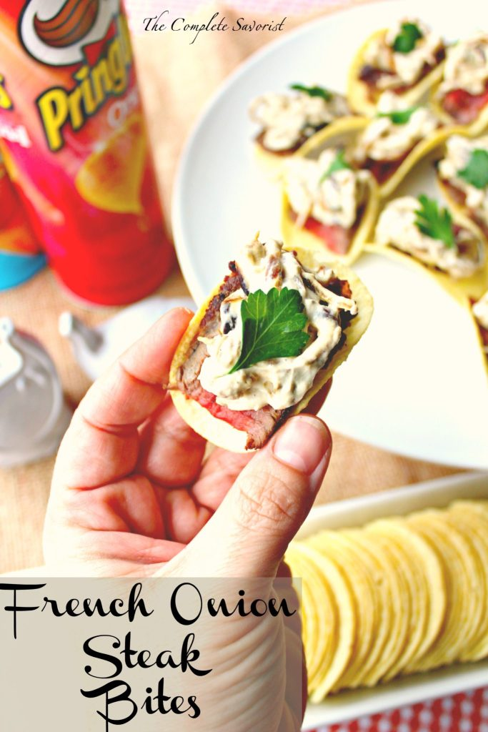 French Onion Steak Bites ~ Classic French onion dip and a perfectly seared steak rested on a quintessential snack chip and a fresh parsley garnish ~ The Complete Savorist #HoopsWithCrunch ad
