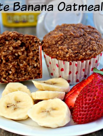 Chocolate Banana Oatmeal Muffins ~ The classic chocolate and banana combination jazzed up with oatmeal and baked into the perfect breakfast muffin ~ The Complete Savorist #StirImagination ad