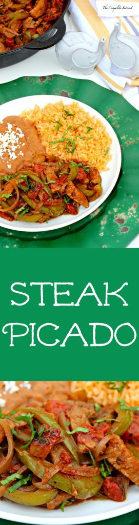 Steak Picado and Guide to Peppers ~ Thin strips of seasoned steak stir fried with bell peppers, onions, and jalapeños in a spiced tomato sauce and a quick guide to common grocery store peppers ~ The Complete Savorist #YesYouCan ad