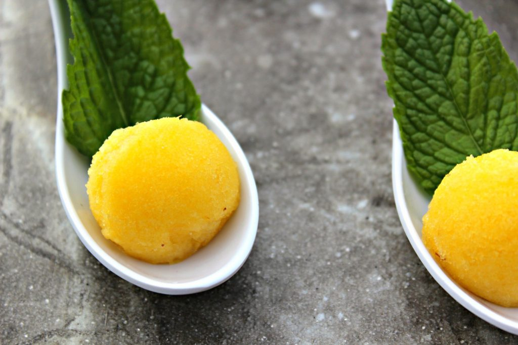 Pineapple Sorbet ~ A refreshing quick and easy pineapple dessert that is made in mere minutes with simple ingredients, no machine required, simply chill in the freezer ~ The Complete Savorist