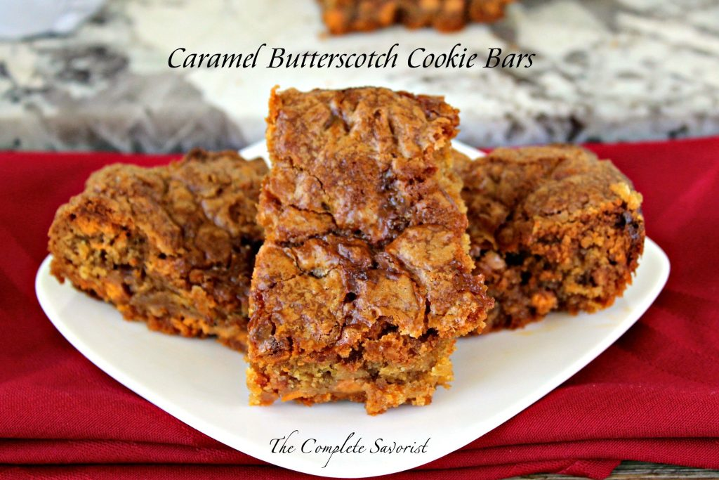 Caramel Butterscotch Cookie Bars ~ Basic cookie recipe made over with butterscotch chips and decadent caramel sauce baked in and drizzled on top ~ The Complete Savorist #MomentoNESCAFE ad