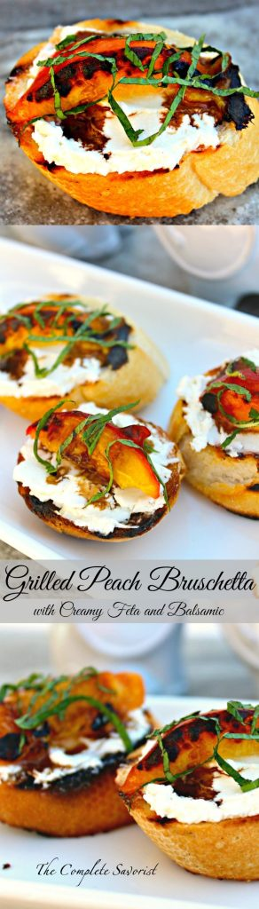 Grilled Peach Bruschetta with Creamy Feta and Balsamic ~ Luscious peaches and your favorite baguette grilled together with a creamy feta cheese spread between them, drizzled with balsamic reduction and fresh mint ~ The Complete Savorist