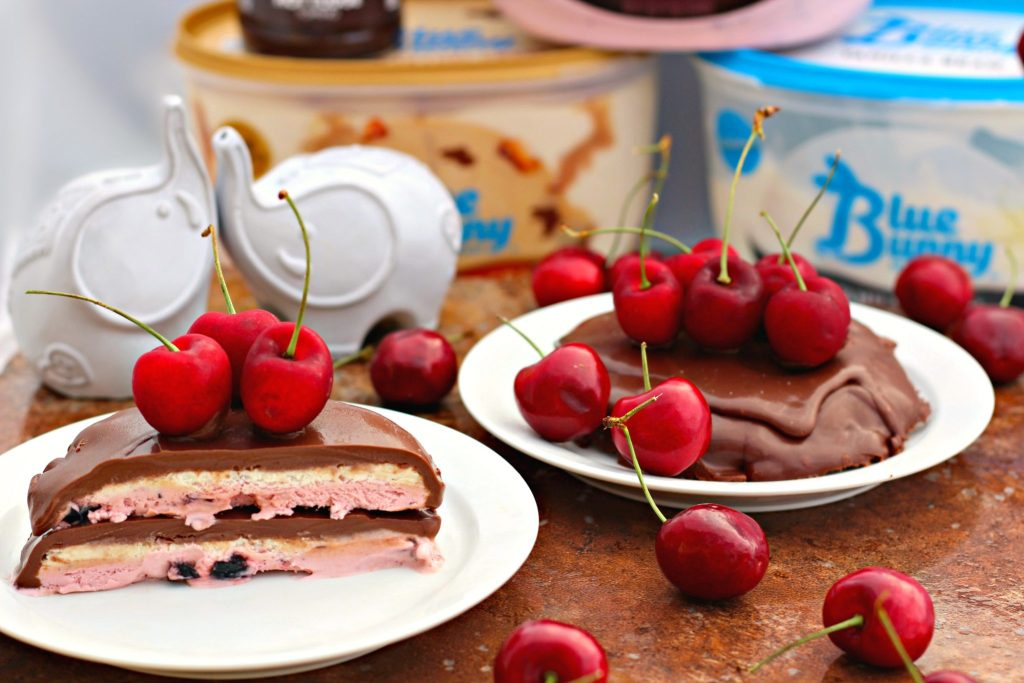 Chocolate Cherry Layered Ice Cream with Ganache ~ Layers of chocolate cherry and vanilla bean ice cream rounded and covered in a luscious chocolate ganache ~ The Complete Savorist #SoHoppinGood ad