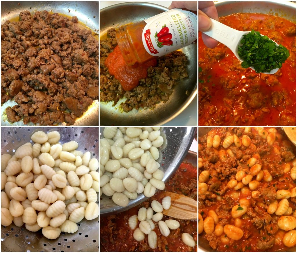 15 Minute Sausage and Gnocchi ~ Tender pillow-y gnocchi and Italian sausage in a pool of marinara sauce is the perfect quick and easy weeknight meal. ~ The Complete Savorist #thestoryofsauce ad