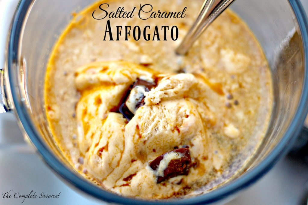 """Salted Caramel Affogato ~ Decadent Italian dessert of """"drowned"""" ice cream and a shot of hot espresso; classic, simple, and combination bound to please all ~ The Complete Savorist"""