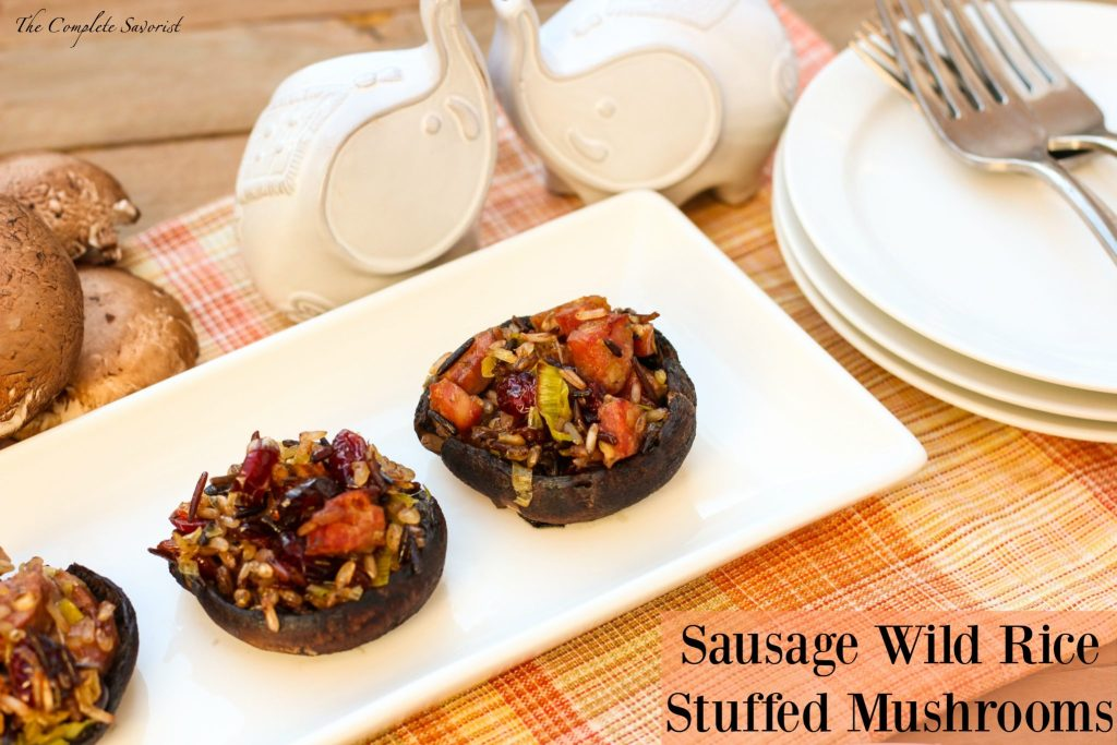 Sausage Wild Rice Stuffed Mushrooms ~ Baby bellas stuffed to the gills with an herbed sauté of sausage, wild rice, dried cranberries and leeks ~ The Complete Savorist #SamsClubMag ad
