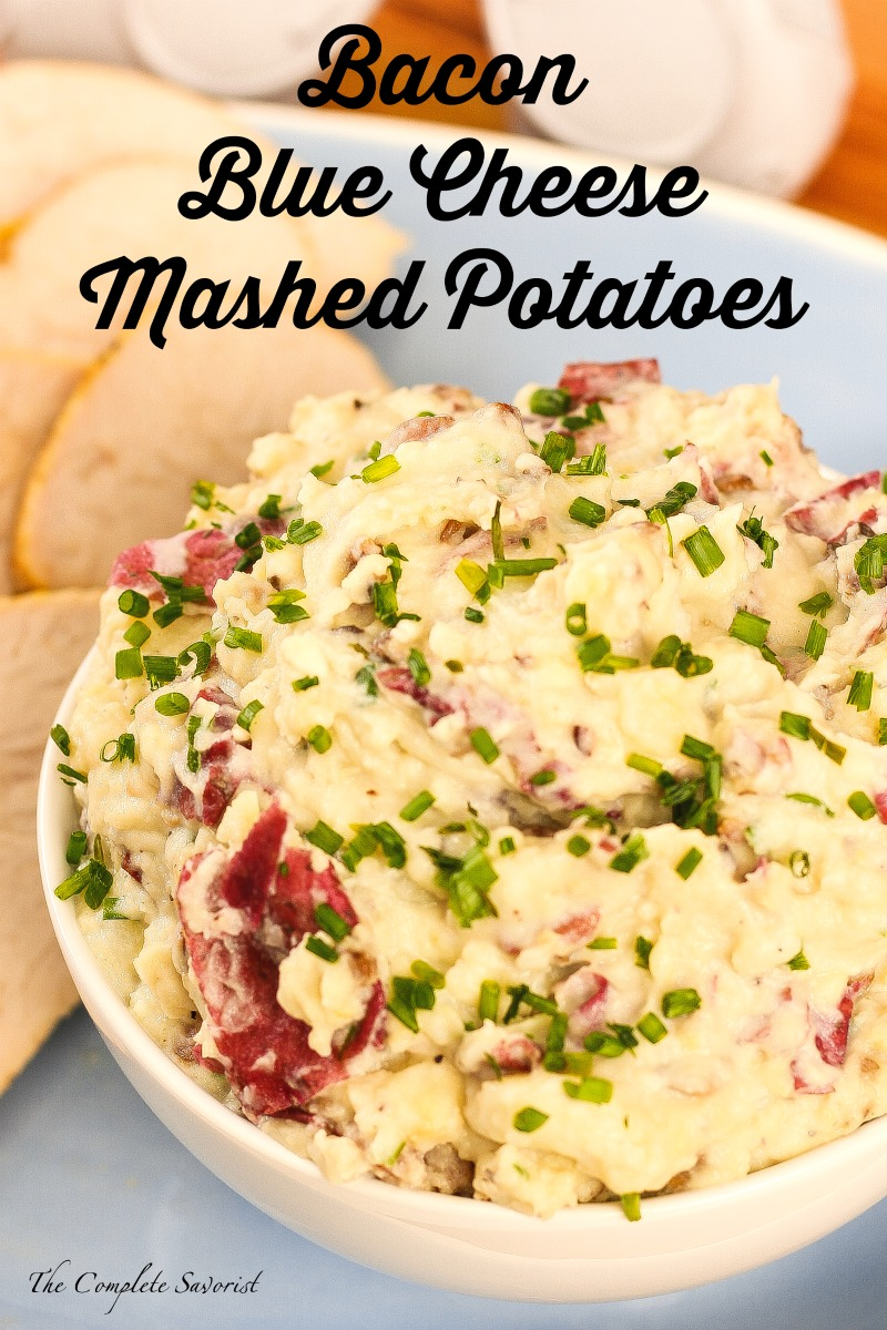 Bacon Blue Cheese Mashed Potatoes ~ Mashed red potatoes with bacon, mushrooms, and blue cheese mixed in; the ultimate in side dish heaven ~ The Complete Savorist #JennieOHoliday ad
