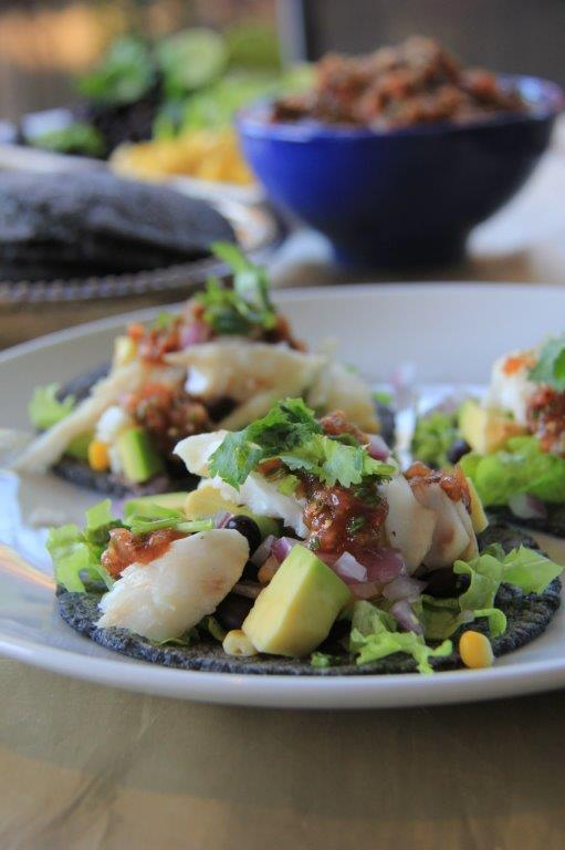 Blue Corn Fish Tacos by Compass and Fork