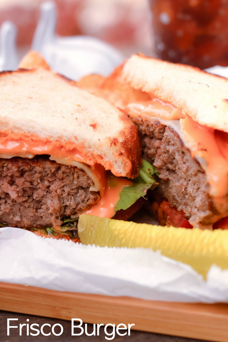 How to Make a Frisco Burger ~ This classic variation of the patty melt will surely please a crowd with its tangy sauce, juicy patty, and two cheeses on grilled sourdough bread.