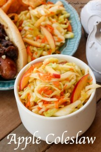 Apple Coleslaw ~ A break from the traditional creamy coleslaw with this tangy vegan version sweetened with apples, a perfect side dish or sandwich topping ~ The Complete Savorist