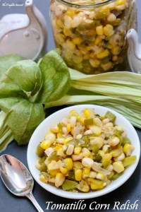 Tomatillo Corn Relish ~ Simple, easy, seasonally fresh, and utterly versatile, this relish is light and has an unexpected secret ingredient.