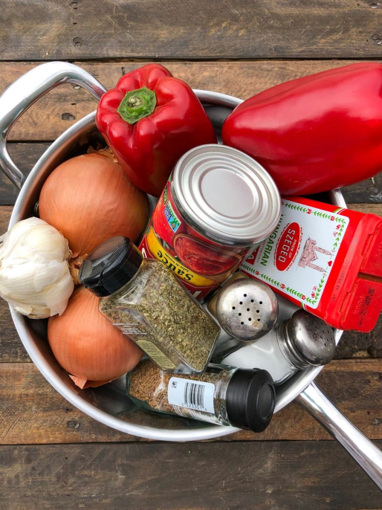 Ingredients for making Hungarian Goulash Sauce