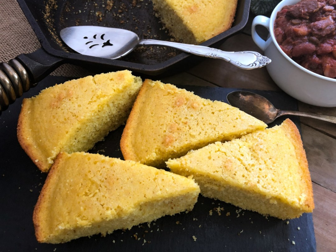 Slices of sweet cornbread.