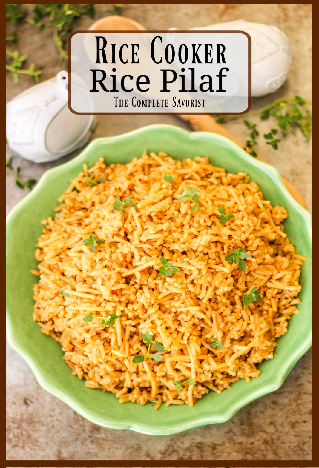 Rice pilaf plated in a light green bowl.