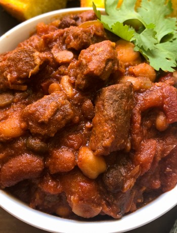Close up of Slow Cooker Cowboy Steak and Beans