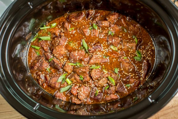 Easiest dinner ever! Slow cooker teriyaki beef takes just minutes to add to the slow cooker.