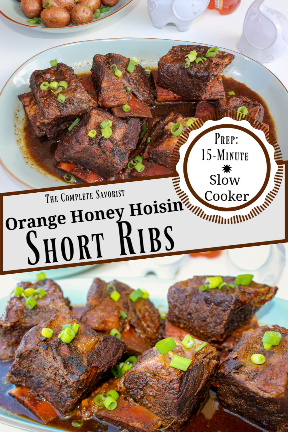 Recipe titled split image of beef short ribs in sauce on a blue plate garnished with green onions.