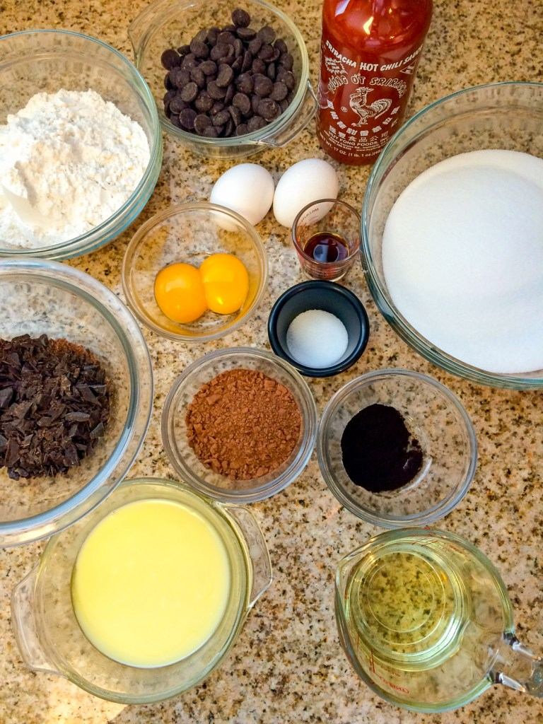 Ingredients needed to make brownies infused with chili sauce.