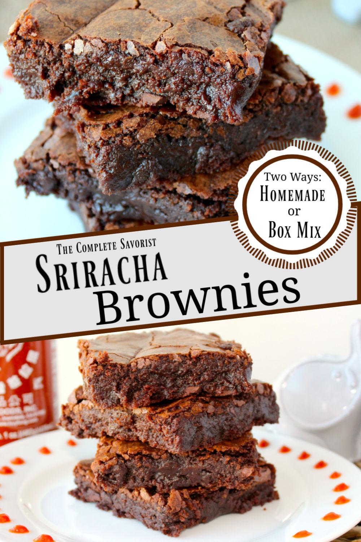 Split image of Sriracha brownies on a white plate.