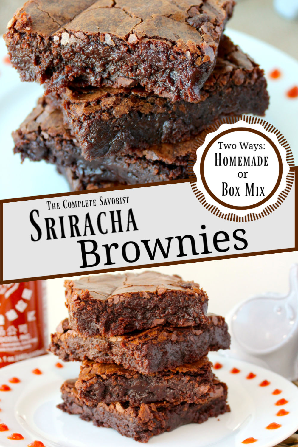 Split image of Sriracha brownies on a white plate.