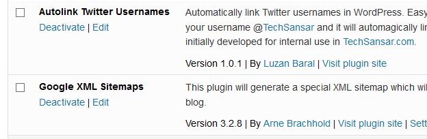 Activate/Deactivate Plugins