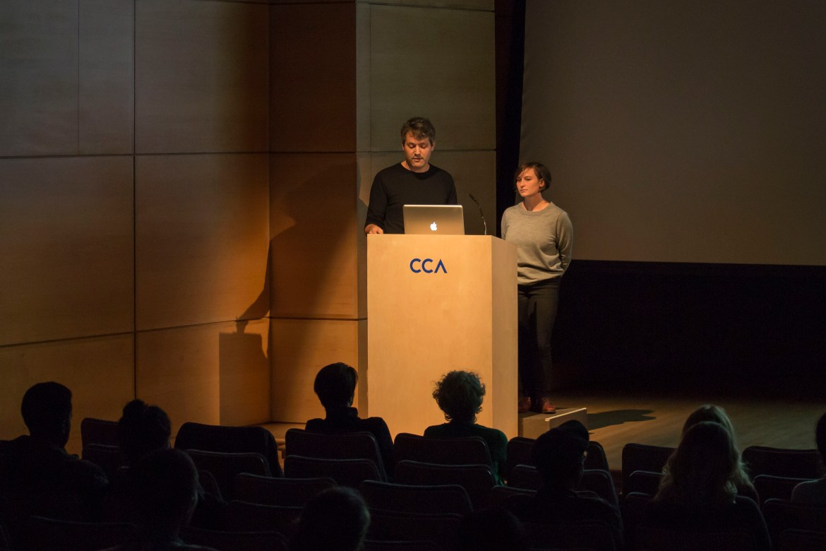 Neimark and Atwood theorize on how the model interacts with its exhibit space. Photo by Kelsey Litwin.