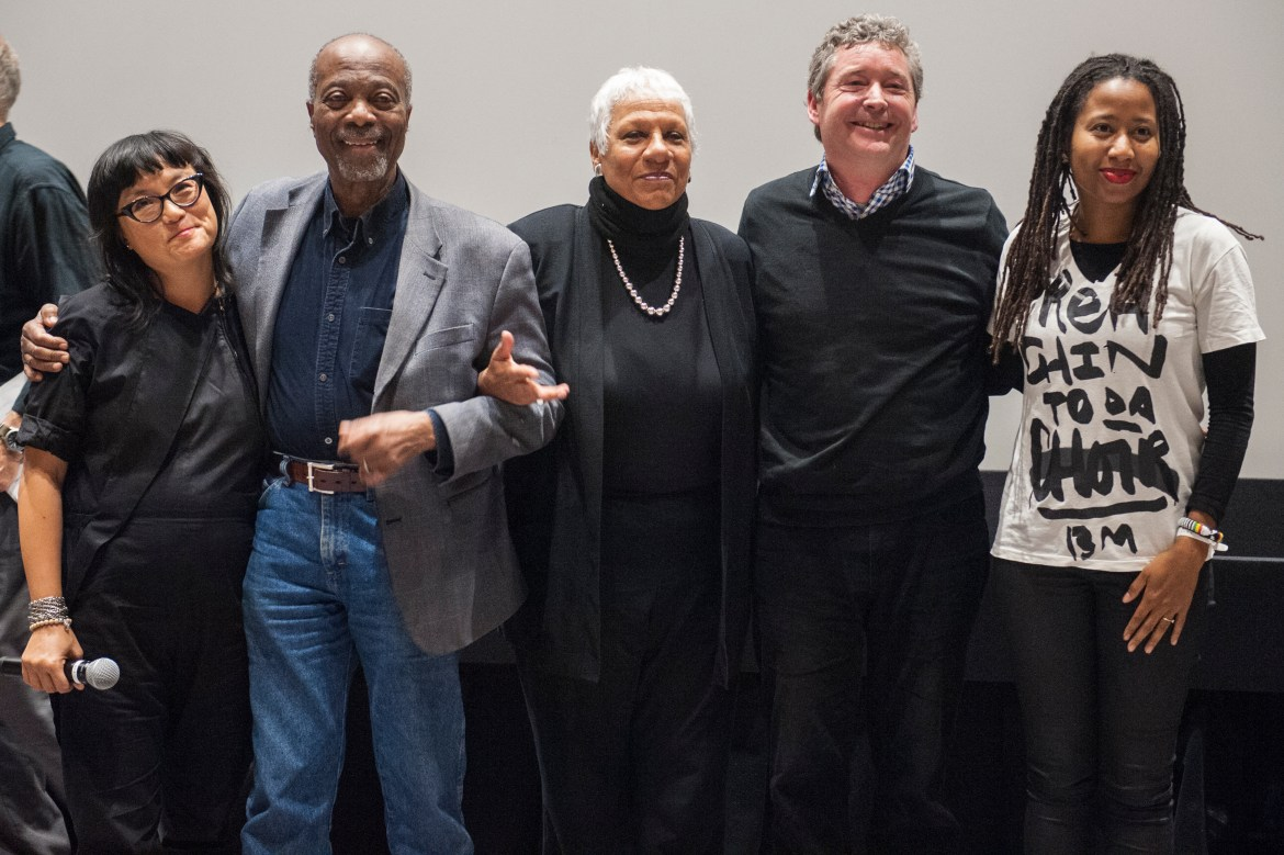 Director Mina Shum, former student protesters Rodney John and Senator Anne Cools, Duff Anderson and Nantali Indongo pose on stage after the screening. Photo by Andrej Ivanov.