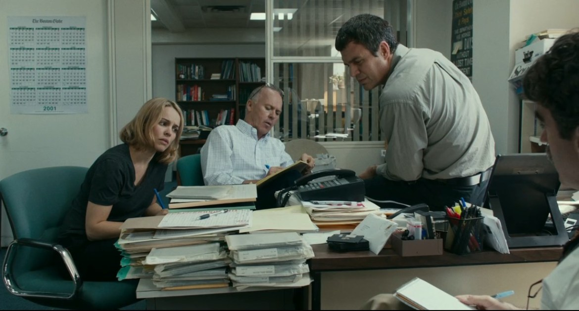 Rachel McAdams, Michael Keaton, Mark Ruffalo and Brian D'Arcy James star as the Spotlight Team.