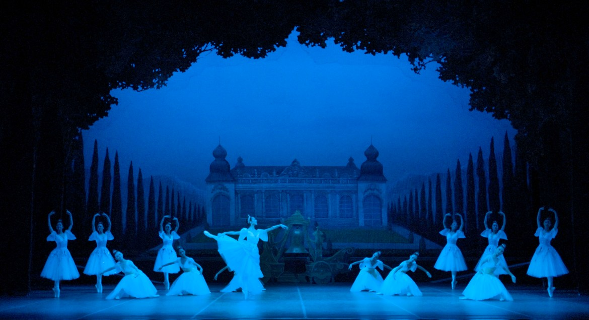 Pictured is the set design for the Lord's castle, the final act of Coppélia. Courtesy of Ballet de Shanghai.