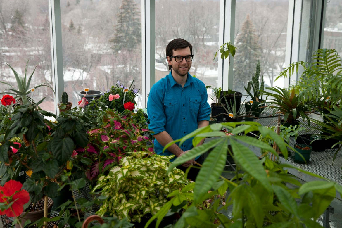 Tyrrell visiting Concordia's greenhouse in the student centre building on Loyola Campus. Photo by Marie-Pierre Savard.