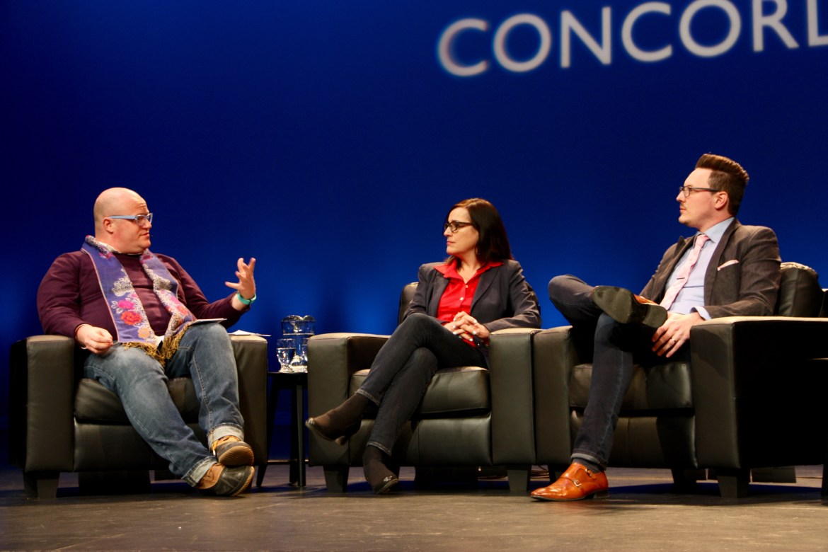 Three panelists discuss the implications of technology in the D.B. Clarke Theatre. Photo by Savanna Craig.