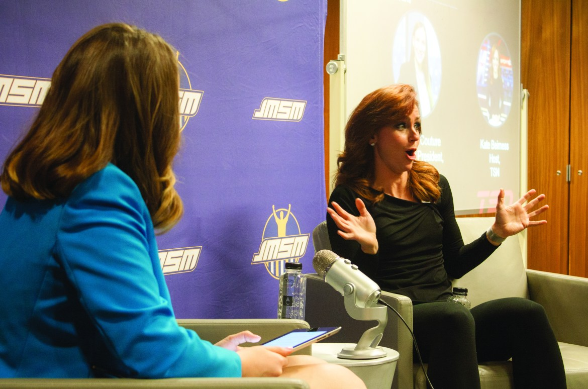 Kate Beirness (right) was one of the speakers during JMSM's third annual Halftime Conference. Photo by William Fox.