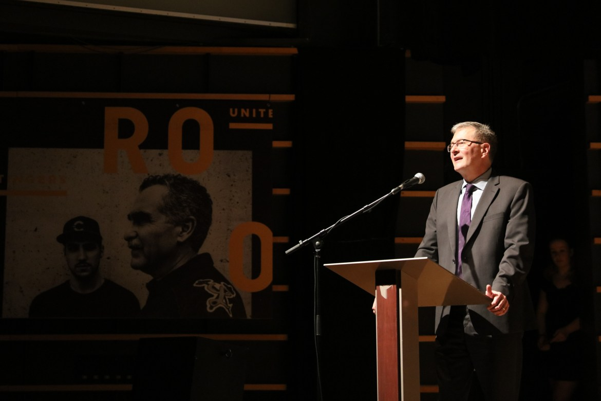 Concordia president Alan Shepard gives a speech at the banquet. Photos by Marie-Pierre Savard.