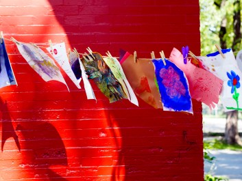 Art pieces hang to dry at the NDG art hive Photo by Joshua De Costa