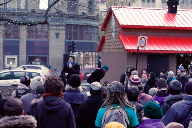 Event speaker Jamie Nicholls discusses need for mobilization against pipelines. Photo by Savanna Craig.