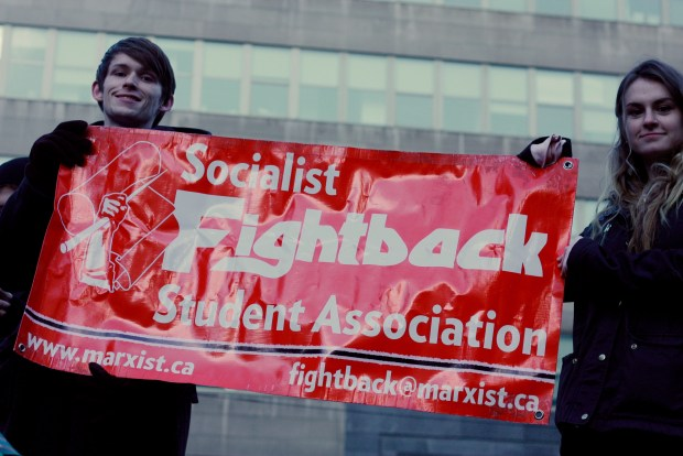 Concordia Socialist Fightback Student Association participated in Phillips Square. Photo by Savanna Craig.
