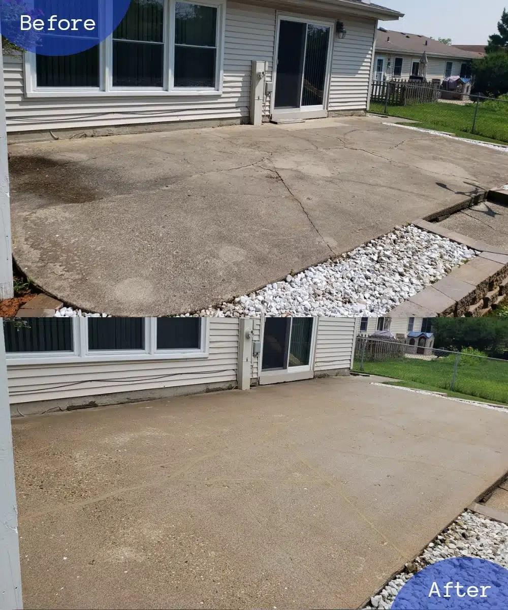 concrete patio raising cleaing