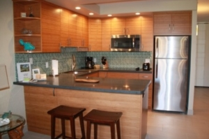 One of our studio vacation rentals at Papakea Resort - kitchen