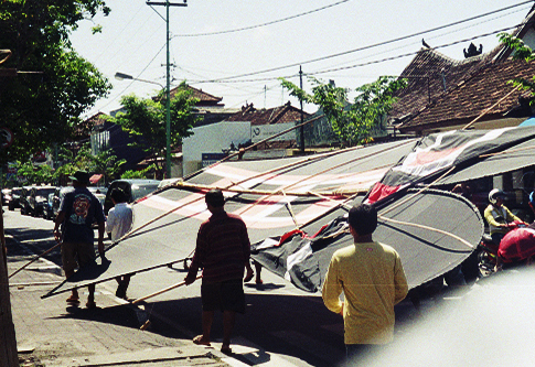 Huge kite about to be launched near Legian - July is kite-flying season in Bali